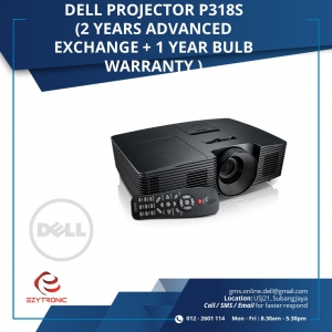Dell Projector P318S (2 years Advanced Exchange + 1 year bulb warranty)