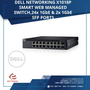 DELL NETWORKING X1018P SMART WEB 16X 1Gbe and 2x 1Gbe SFP PORTS (210-AEIL-X1018P)