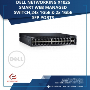 DELL NETWORKING X1026 SMART WEB,24X1Gbe and 1Gbe SFP PORTS (210-AIEM-X1026)