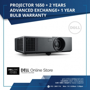 Dell Projector 1650 + 2 years Advanced Exchange + 1 year bulb warranty