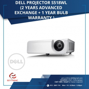 Dell Projector S518WL ( 2 years Advanced Exchange + 1 year bulb warranty)