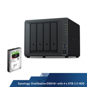 Synology DiskStation DS918+ with 4 x 6TB 3.5 HDD