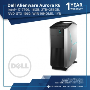 DELL ALIENWARE AURORA R6 (INTELI7-7700/16GB/2TB+256GB SSD/GTX1060/W10H/1YRS)